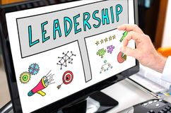 Leadership concept on a computer monitor. Leadership concept shown on a computer screen Stock Image