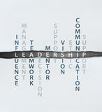 Leadership concept. Consists of many elements such as influence, management, teamwork, decision, mentor,support, vision, ethic,communication and support Royalty Free Stock Photos
