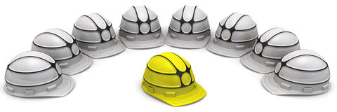 Leadership concept with construction helmets Royalty Free Stock Photo