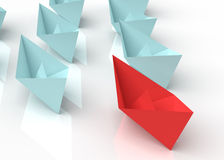 Leadership concept. 3d Paper boats Royalty Free Stock Photo