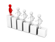 Leadership concept 3d people grow on bar chart Stock Photos