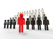 Leadership concept. 3D render image representing leadership concept. One leader in front of a crowd Royalty Free Stock Photography