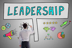 Leadership concept drawn by a man Stock Image