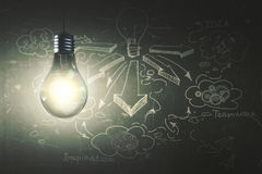 Leadership concept. Glowing lamp on concrete wall background with business sketch. Leadership concept. 3D Rendering Royalty Free Stock Image