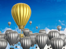 Leadership concept with golden hot air balloon. Leadership concept with 3d rendering golden hot air balloon flying above Royalty Free Stock Images
