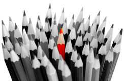 Leadership Concept - Gray Pencils With Red One Stock Photos
