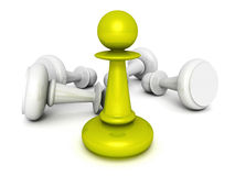 Leadership concept green pawn forward Stock Image