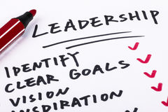 Leadership concept. Handwritting on paper Royalty Free Stock Photo