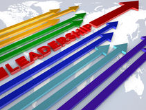 Leadership concept image. Leadership in arrows on map concept image Royalty Free Stock Photography