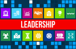 Leadership concept image with business icons and copyspace. Royalty Free Stock Photography