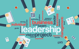 Leadership concept infographics. Word cloud with Stock Image