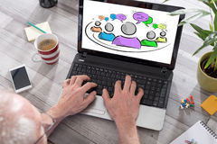 Leadership concept on a laptop screen Stock Photography