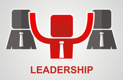 Leadership concept - leader raises his hands up Royalty Free Stock Images