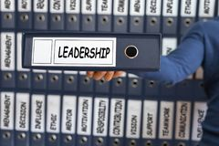 Leadership concept. Leadership skill concept. Young man holding. Ring binder. Business concept Stock Image