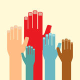 Leadership concept. Multicolored hands up. vector illustration