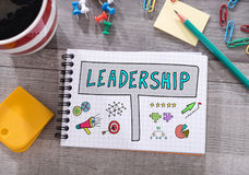 Leadership concept on a notepad Royalty Free Stock Image