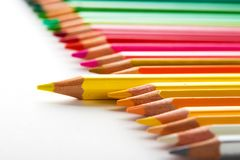 Leadership concept with one pencil standing out of crowd of othe. R pencils Stock Image