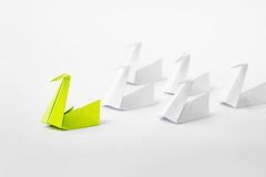 Leadership concept. Leadership concept with origami paper bird leading among white Royalty Free Stock Image