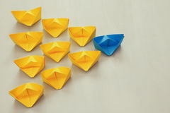 Leadership concept with paper boats Royalty Free Stock Photos