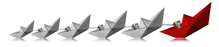 Leadership Concept - Paper Boats On White Background Stock Photo