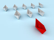 Leadership concept. Paper boats Royalty Free Stock Photos