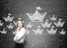 Leadership concept paper boats Royalty Free Stock Photos