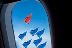 Leadership concept with paper plane .View from Window airplane. Leadership concept with paper plane .View from Window airplane royalty free stock photo