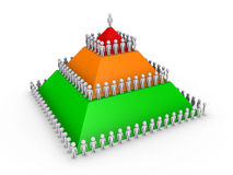 Leadership concept with pyramid and many people. Leadership concept with 3d colored pyramid and many people Stock Images