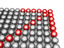 Leadership concept with red arrow of glossy spheres Royalty Free Stock Images