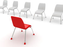 Leadership concept with red chair Royalty Free Stock Photo