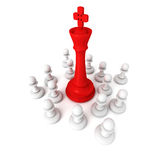 Leadership concept with red chess king and pawns. 3d render illustration Royalty Free Stock Images