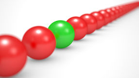 Leadership concept, red and green balls Stock Image
