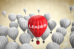 Leadership concept with red hot air balloon. Leadership concept with 3d rendering red hot air balloon Royalty Free Stock Images