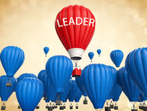 Leadership concept with red hot air balloon. Leadership concept with 3d rendering red hot air balloon flying above Stock Images