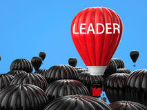 Leadership concept with red hot air balloon. Leadership concept with 3d rendering red hot air balloon flying above Royalty Free Stock Images