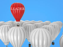 Leadership concept with red hot air balloon. Leadership concept with 3d rendering red hot air balloon flying above Royalty Free Stock Image