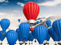 Leadership concept with red hot air balloon. Leadership concept with 3d rendering red hot air balloon flying above Royalty Free Stock Photography