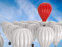 Leadership concept with red hot air balloon. Leadership concept with 3d rendering red hot air balloon flying above Royalty Free Stock Photos