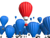 Leadership concept with red hot air balloon. Leadership concept with 3d rendering red hot air balloon flying above Stock Photos