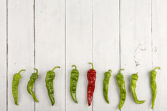 Leadership concept - red hot chili pepper leading the group of green ones Royalty Free Stock Photo