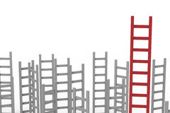 Leadership concept with red ladder. Among grey ladders Stock Photos
