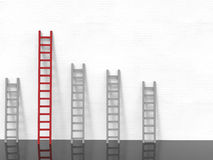 Leadership concept with red ladder royalty free stock image