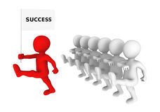 Leadership concept. Red leader marches to success Royalty Free Stock Photography
