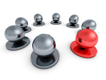 Leadership concept red leader sphere of metal crowd Stock Photos