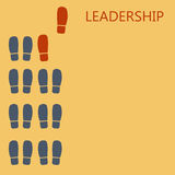 Leadership concept. Red leaders shoe prints. Plase for text. Ve. Ctor illustration Royalty Free Stock Photography