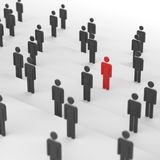 Red leader man. Leadership concept, red man among blacks. 3D Rendering Royalty Free Stock Photo