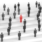 Red leader man. Leadership concept, red man among blacks. 3D Rendering Royalty Free Stock Photos
