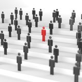 Red leader man. Leadership concept, red man among blacks. 3D Rendering Stock Images