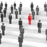 Red leader man. Leadership concept, red man among blacks. 3D Rendering Stock Photography