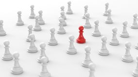 Red pawn of chess. Leadership concept, red pawn of chess, standing out from the crowd of white pawns, on white background. 3D rendering Stock Photography